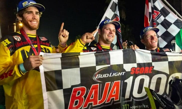 Baja 1000 2015 Winning Motorcycle Team of Colton Udall, Mark Samuels and Justin Jones.