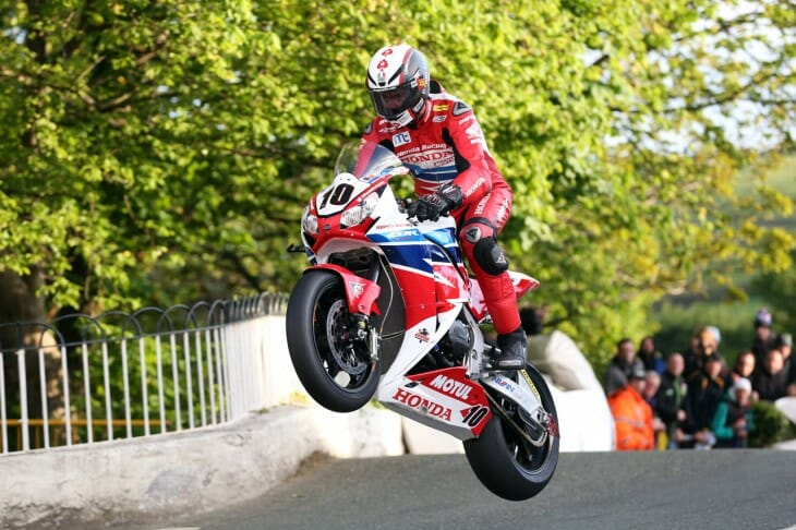 PACEMAKER, BELFAST, 6/6/2015: Conor Cummins (Honda) at Ballaugh Bridge during TT 2015. PICTURE BY STEPHEN DAVISON