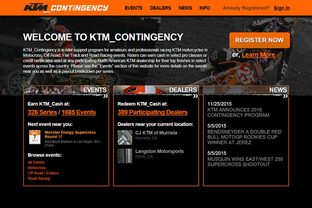KTM Contingency Website Screen Shot