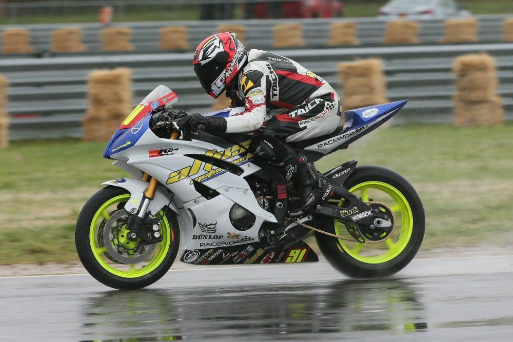 Despite the cold and rainy conditions, JC Camacho pushed hard on his Altus Motorsports Tuned By RaceworX Yamaha R6 on Sunday afternoon to earn a second successive event third place finish and a trip to the Superstock 600 podium during the Moto America Superbike Championship of New Jersey. (Brian J. Nelson photo)