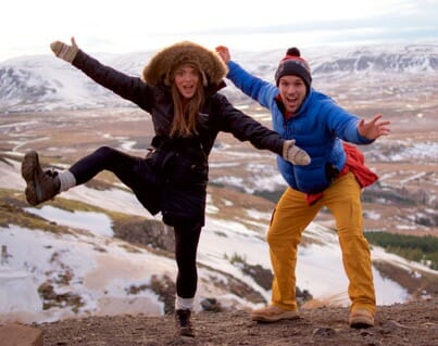 Mike and Sigga posing on Mt. Esja in Reykjavik, Iceland.
