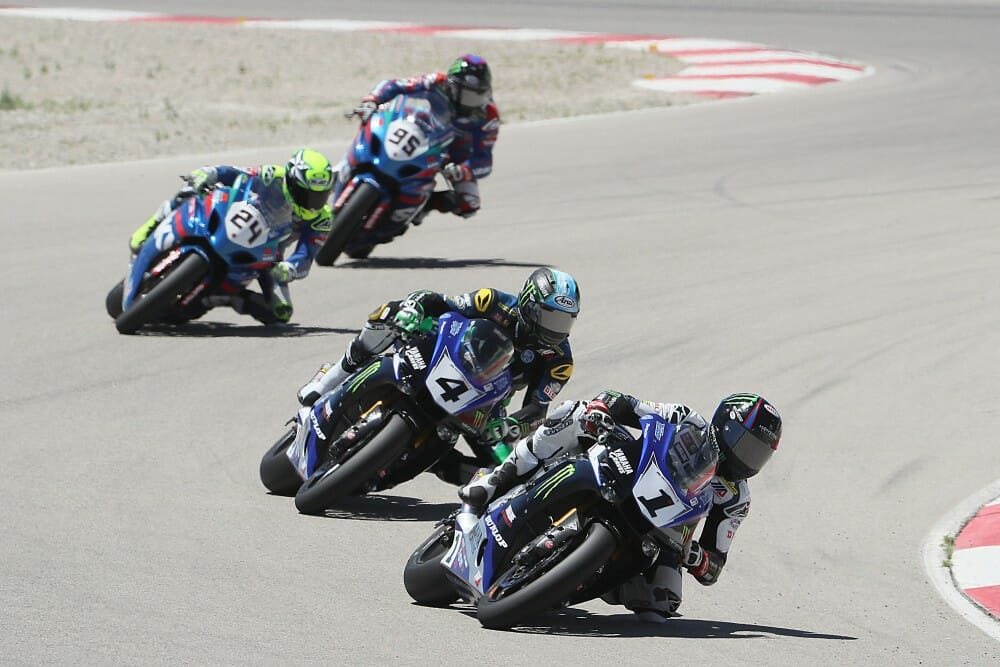 Cameron Beaubier (1) won his seventh race of the season in the first of two Superbike races at Utah Motorsports Campus on Saturday. Beaubier beat teammate Josh Hayes (4) in race one. Photography by Brian J. Nelson.