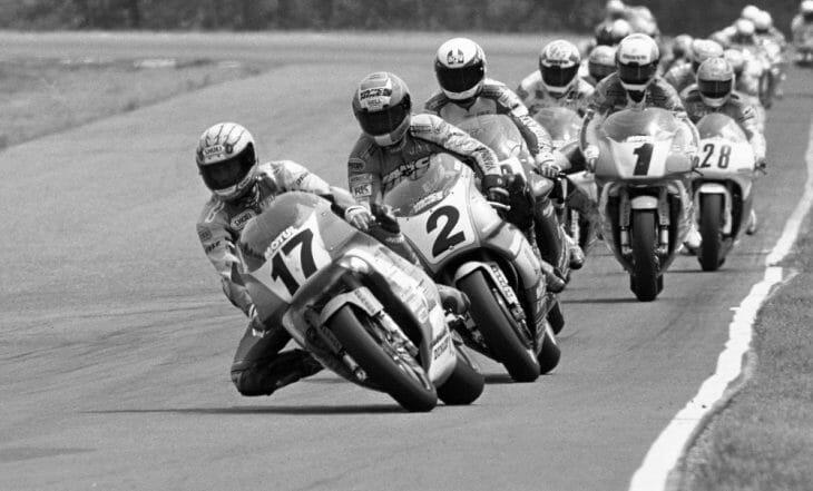 Scott Russell leading the Brainerd AMA Superbike race in 1992