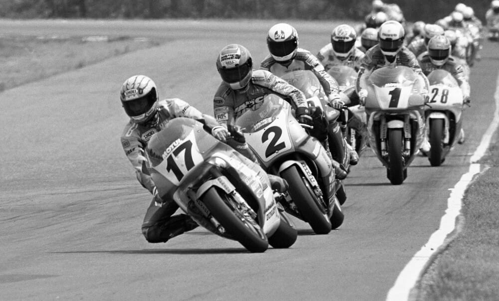 Scott Russell leading the Brainerd AMA Superbike race in 1992