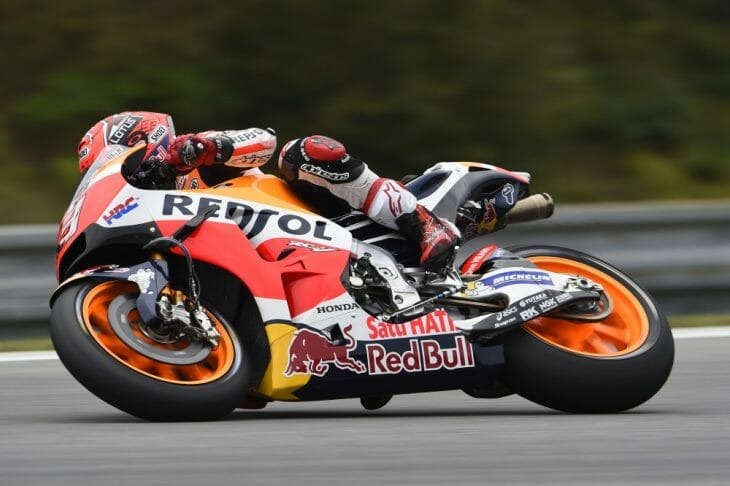 Marc Marquez was fastest on Friday at Brno.
