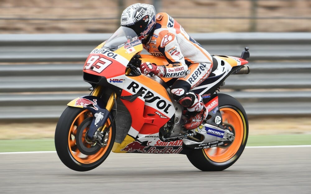 MotoGP series leader Marc Marquez won the pole for the 2016 Aragon Grand Prix.