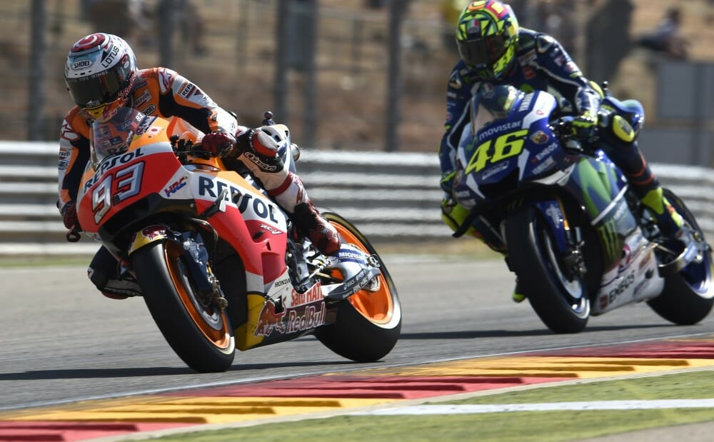 Marc Marquez won the 2016 Aragon MotoGP on his Honda.