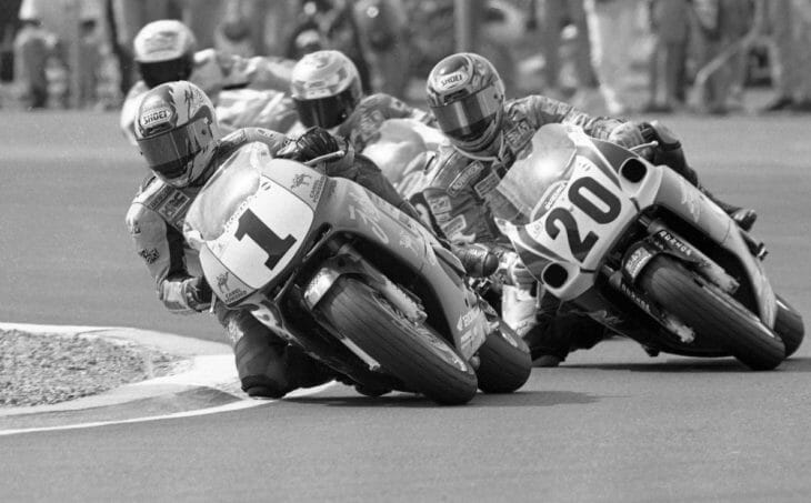 Miguel Duhamel (No. 1) heads a pack of riders in the AMA 600 Supersport race at Phoenix International Raceway in February of 1997.