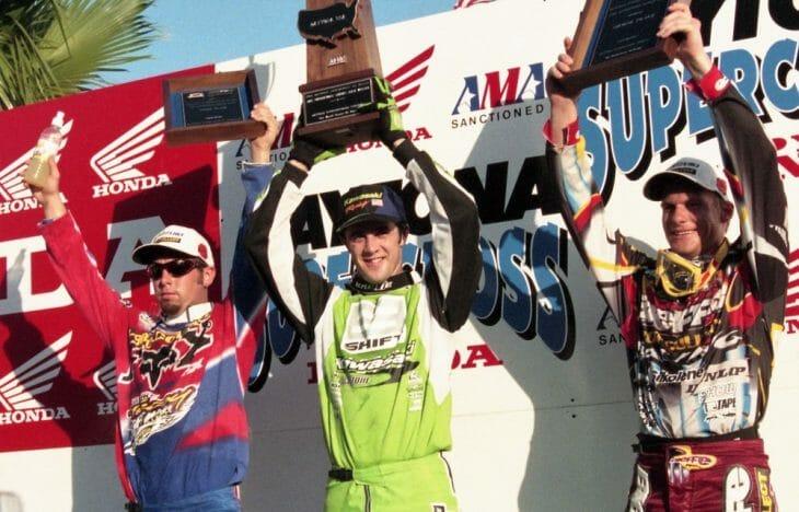 Jeff Emig celebrates his victory at the 1997 Daytona Supercross over Greg Albertyn and Jeremy McGrath
