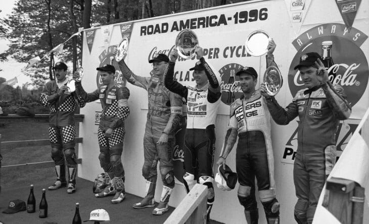 Dale Quarterley and Doug Polen took the victory in the 1996 AMA Performance Machine SuperTeams Series race at Road America
