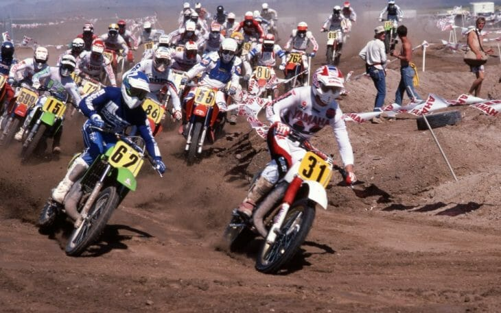 Scott Manning leads the start of the AMA 500cc Motocross National at Las Vegas MX Park in May of 1985.
