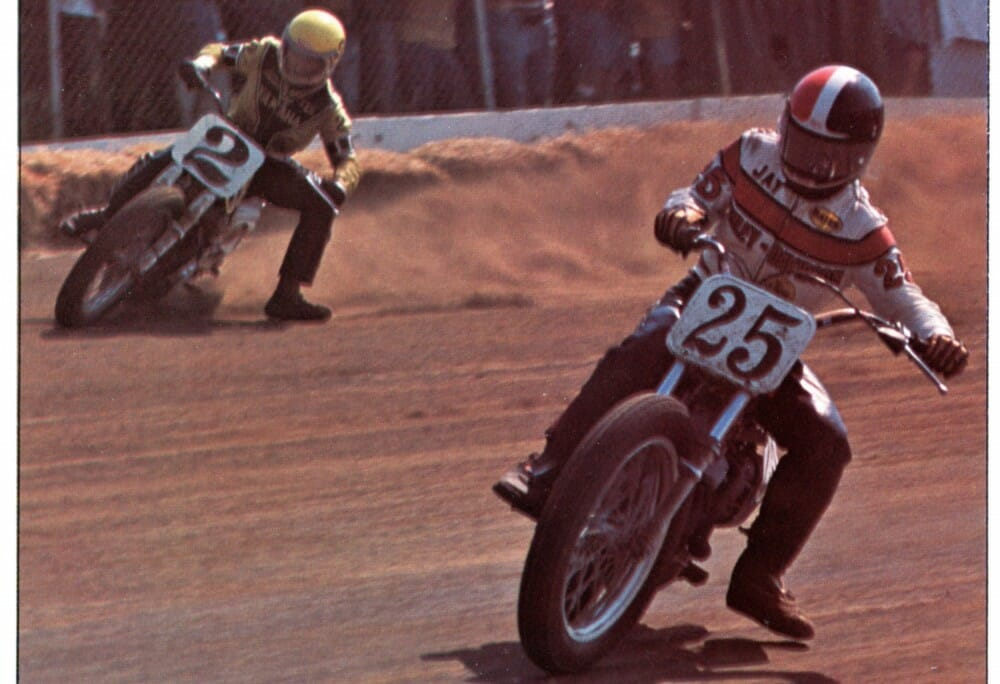 In 1976 Jay Springsteen vs Kenny Roberts; Harley-Davidson vs Yamaha doing battle on the track