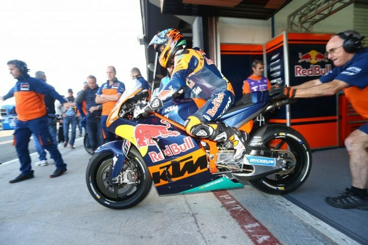 KTM debuted its MotoGP machine in competition at Valencia.