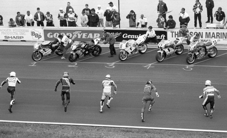 The Le Mans start for the AMA Superteams race at Road America in 1996.