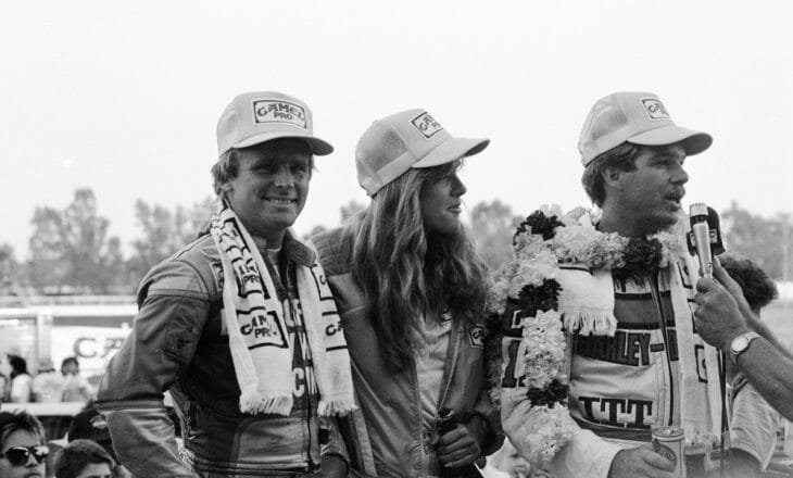 Wayne Rainey shared the podium with winner Scott Parker at Sacramento.