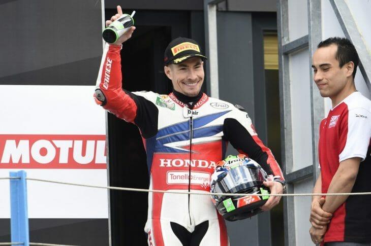 Hayden on the podium