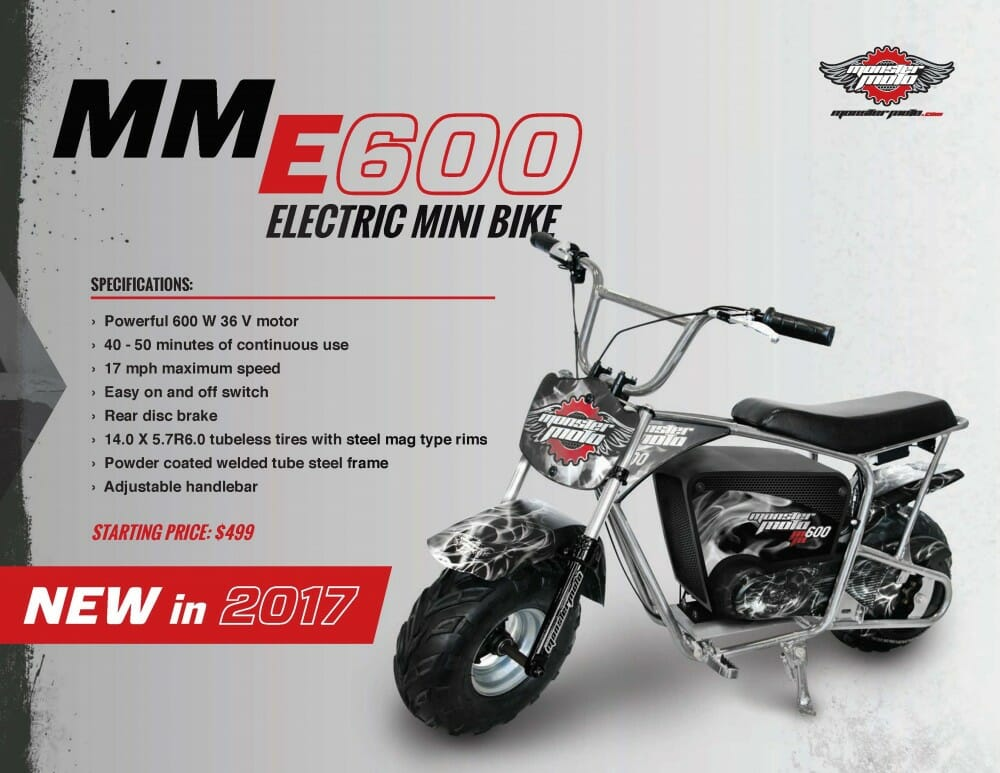 Monster Moto 2017 E600 Mini Bike