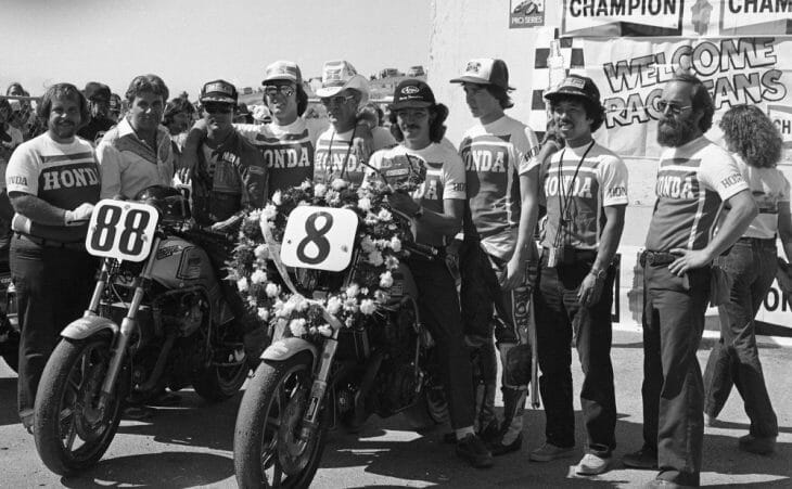 Members of Team Honda pose for a photo after the AMA Superbike race at Laguna Seca Raceway in August of 1980.