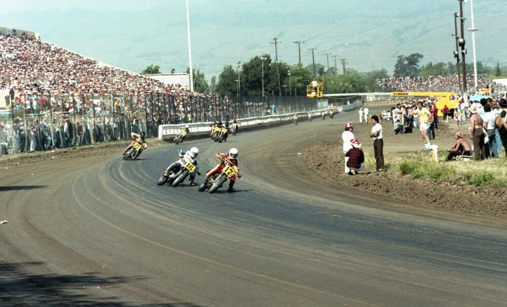 Jimmy Filice and Rich Arnaiz lead the pack into the first turn at the Junior Invitational National at the San Jose Mile in May of 1980.