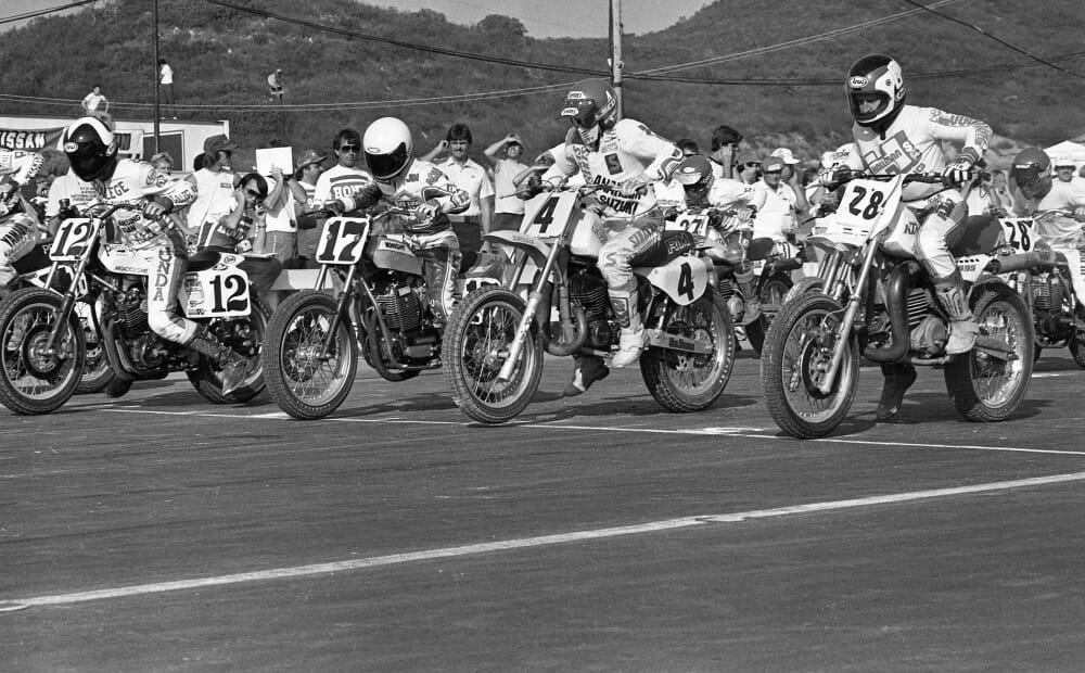 Riders lineup for the start of a race at the 1983 ABC Wide World of Sports Superbikers at Carlsbad (Calif.) Raceway.