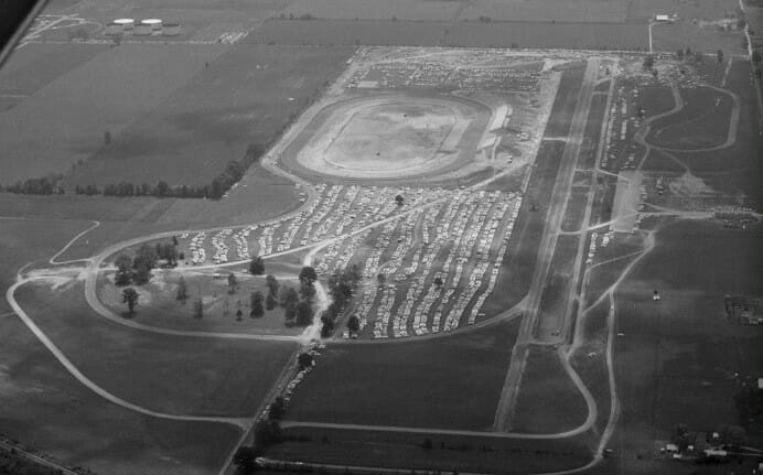 Aerial view of Indianapolis Raceway Park in the 1960s