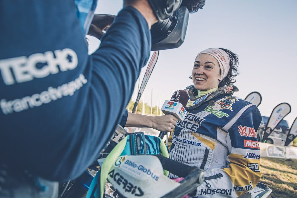Laia Sanz wasn't the only female star to reach the finish… meet Anastasiya Nifontova of Russia of HT Husqvarna Rally Raid team.