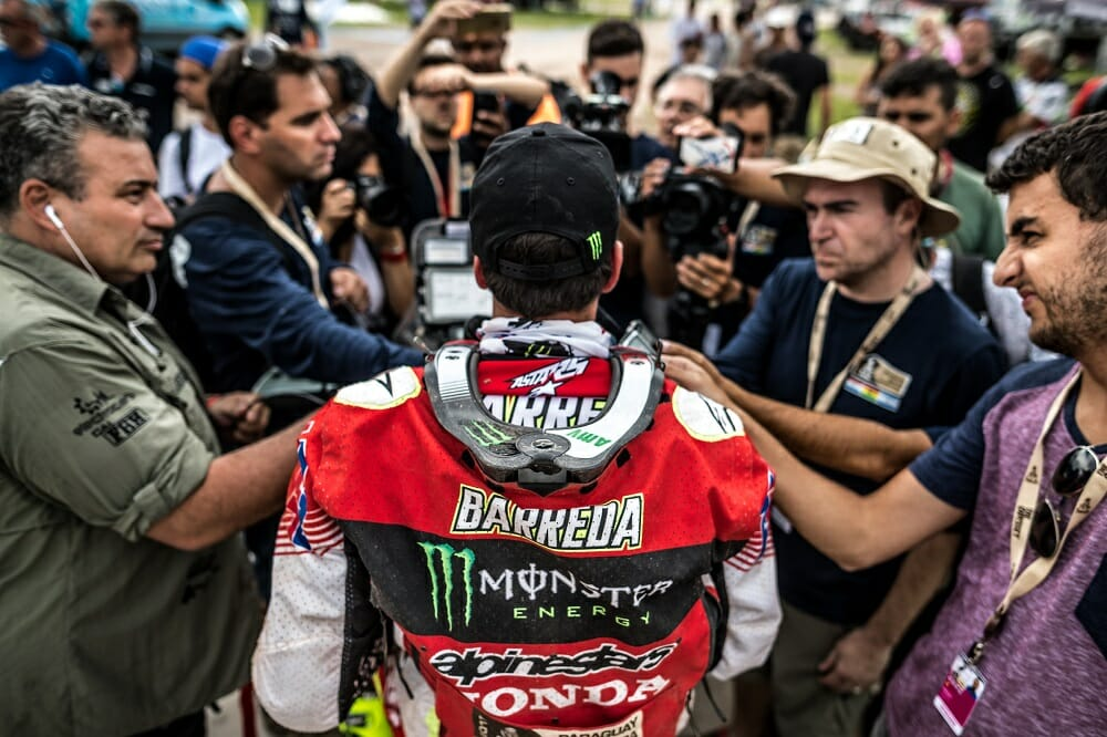 All eyes were on HRC's Joan Barreda, a favorite to win the Dakar.