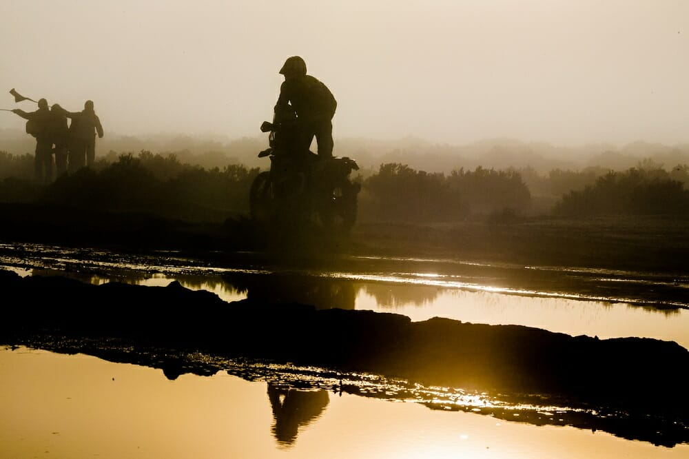 Factory Yamaha rider Adrien Van Beveren carefully makes his way through the early morning mist and swampy terrain.
