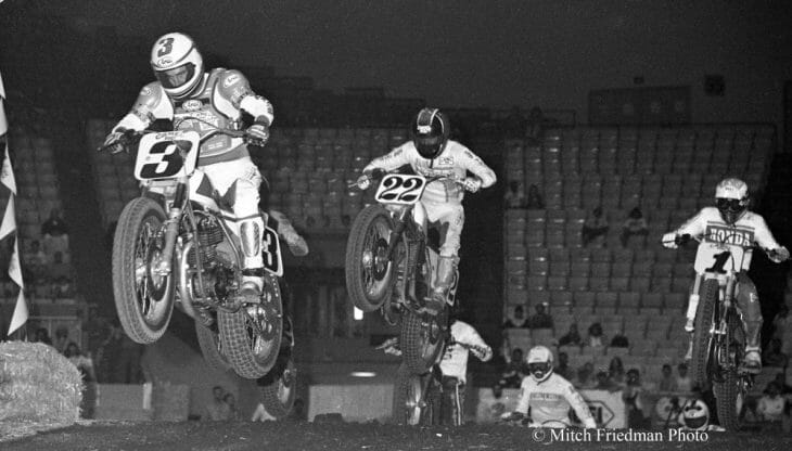 Ricky Graham leads Keith Day and Bubba Shobert in the Cow Palace TT 600 National in 1988.