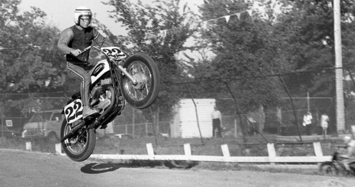 Dan Haaby jumped his Harley-Davidson KR750 at the 1969 Santa Fe TT.