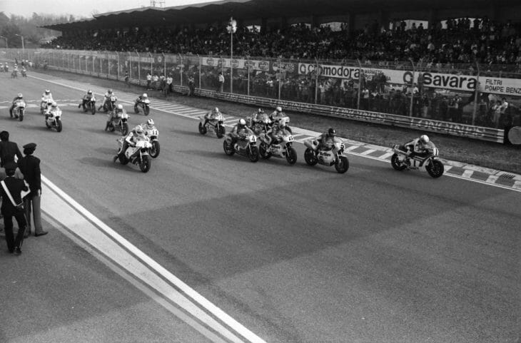 Riders blast off at the start of an early 1980s Imola 200, one of the biggest road races in the world during its era.