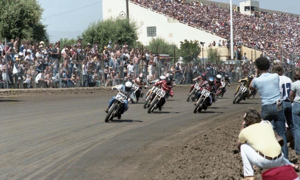 Mike Kidd leads the pack in qualifying for the 1980 San Jose Mile.