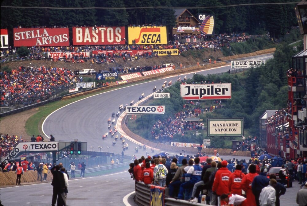 This 1988 photograph shows the most famous part of the Spa-Francorchamps circuit, Eau Rouge.