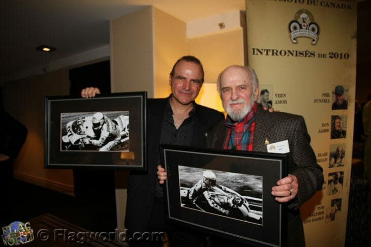 Miguel Duhamel and his dad Yvon at the recent Canadian Motorcycle Hall of Fame induction ceremony. (Courtesy Michel Flageole)