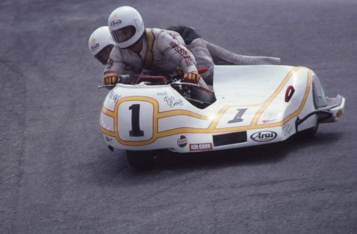 Driver Pete Essaff and passenger Dennis Cruegar race in the AMA National Sidecar race at Laguna Seca Raceway in July of 1983.