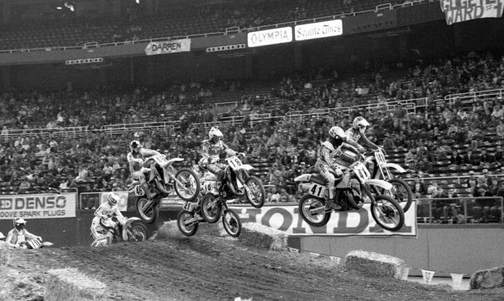 A classic Last Chance Qualifier battle at the 1986 Seattle Supercross led by Jeff Frisz.