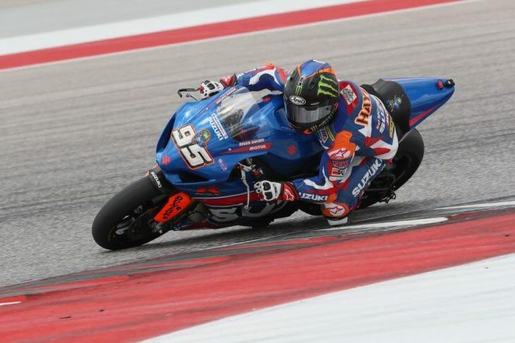 Roger Hayden topped the charts on his Yoshimura Suzuki in the pre-season MotoAmerica tests.
