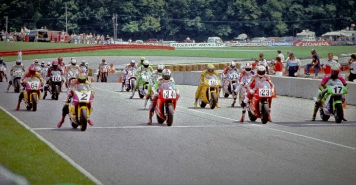 The start of the 1992 AMA Superbike race at Mid-Ohio Sports Car Course. Doug Polen (No. 23) won the race.