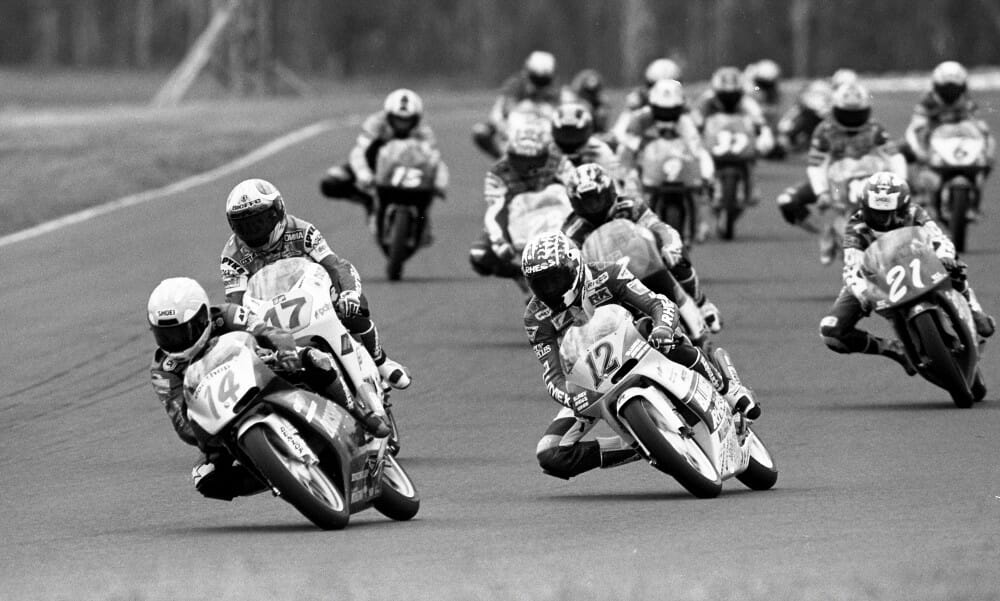 FIM 125cc Grand Prix Road Racing action at Eastern Creek Raceway in 1995.