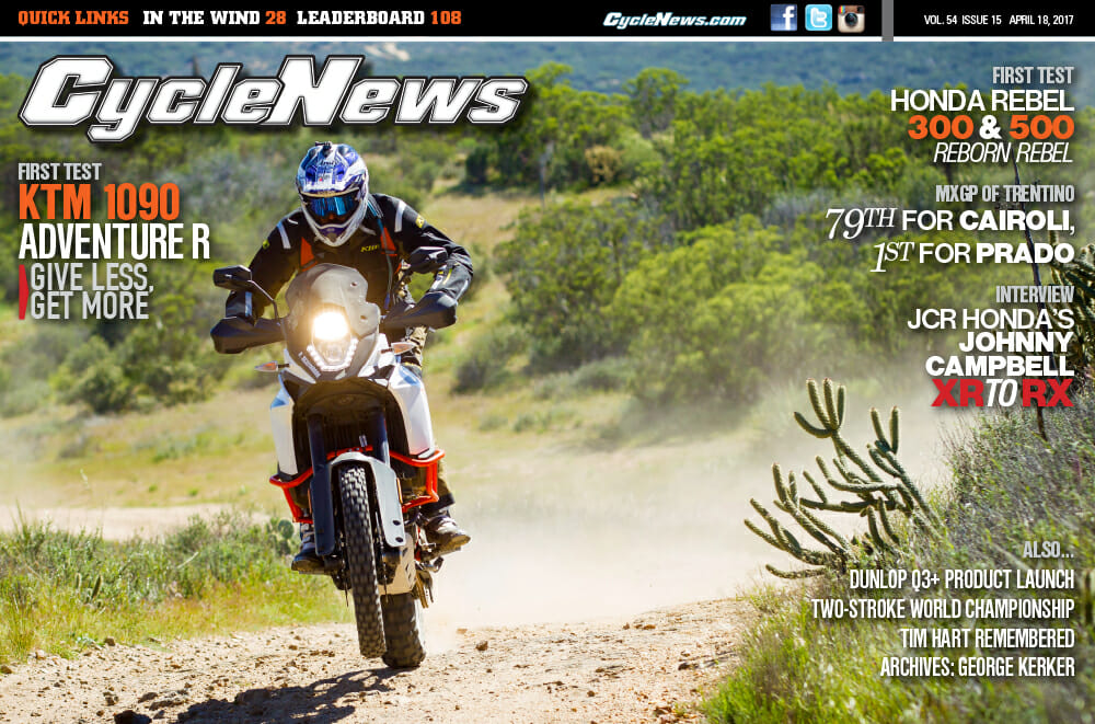 Cycle News Issue #15: KTM 1090 Adventure R And Honda Rebel First Tests, JCR Racing Interview...