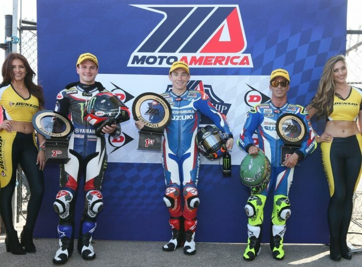 Yoshimura Suzuki's Roger Hayden (center) won Superpole Friday for the 2017 MotoAmerica Superbike series opener at the Circuit of the Americas at the combined MotoGP/MotoAmerica weekend in Austin, Texas. Teammate Toni Elias (right) also qualified on the front row in third.