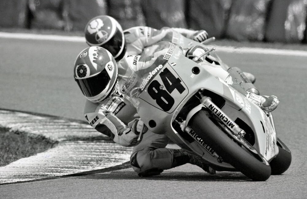 Carl Fogarty on the Silkolene Honda RC30 (the official British Honda factory machine) leading teammate Naill Mackenzie in the 1991 Daytona 200.