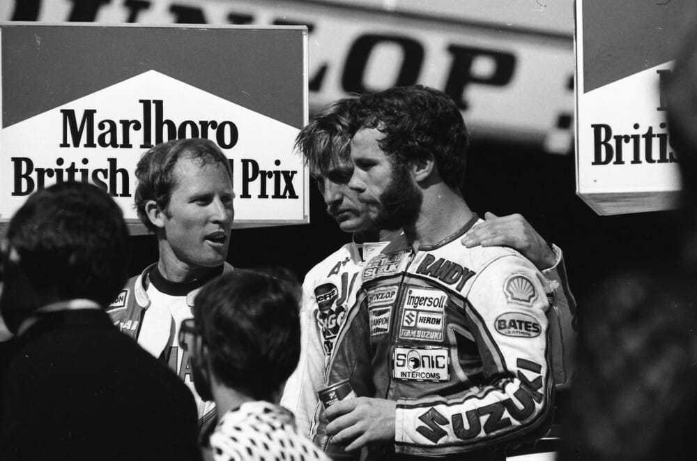 Jack Middelburg stands on the podium of the 1981 British GP with Kenny Roberts and Randy Mamola. (Henny Ray Abrams photo)