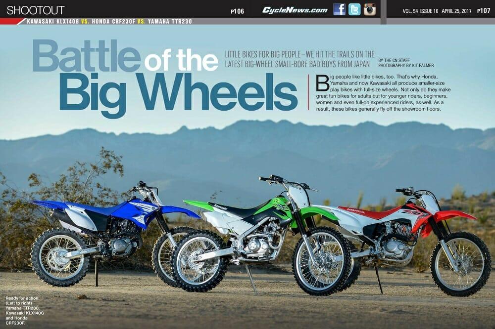 Kawasaki KLX140G vs. Honda CRF230F vs. Yamaha TTR230: SHOOTOUT
