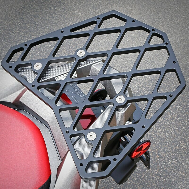 fastway honda africa twin footpegs and cargo rack cycle news. Black Bedroom Furniture Sets. Home Design Ideas