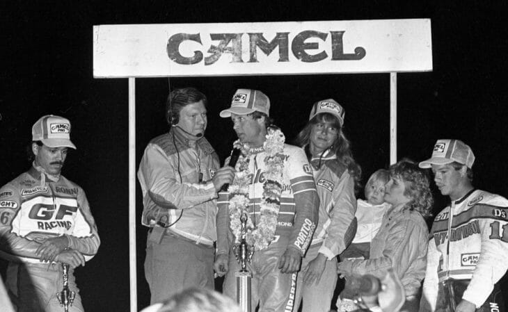 Randy Goss stands atop the podium after winning the AMA Grand National at the Ascot Park Half-Mile in Gardena, California, in May of 1986.