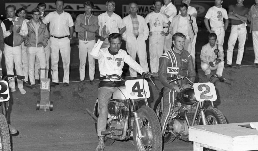 Bart Markel and Dick Mann being introduced at the 1969 Ascot Park TT National