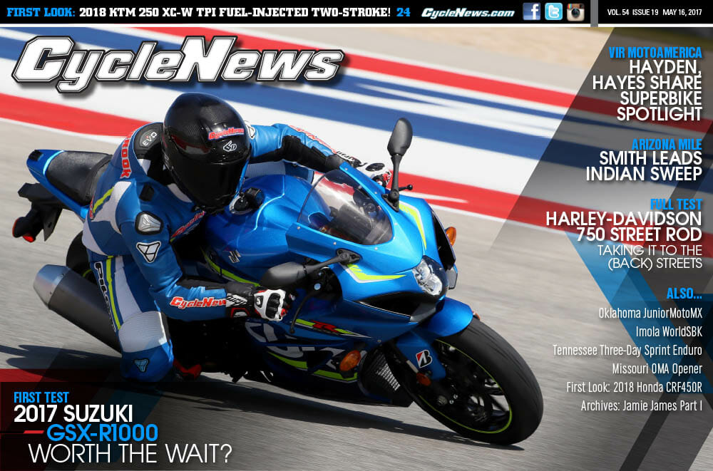 Cycle News Magazine #19: First Test 2018 Suzuki GSX-R1000, VIR MotoAmerica, Arizona Mile...