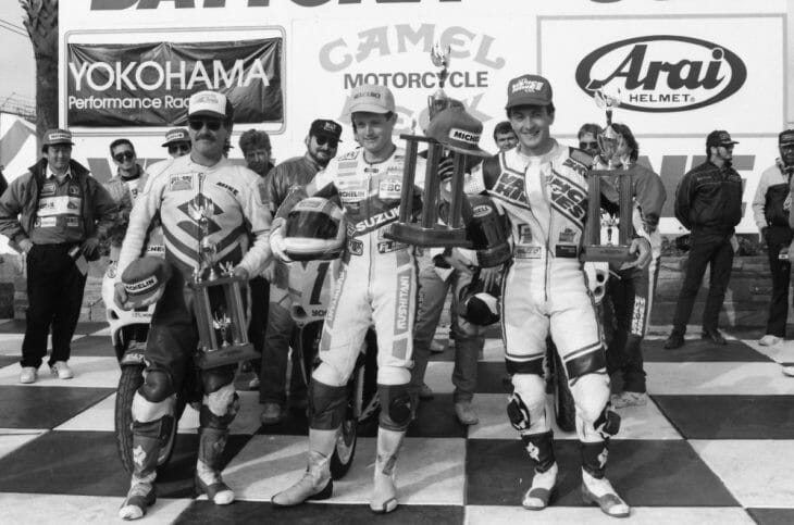 Caption: Jamie James (center) in the winner's circle at Daytona after winning his first AMA Pro event, the '89 Daytona 750cc Supersport race over second-place David Sadowski (right) and third-place Mike Harth (right). (Henny Abrams photo)