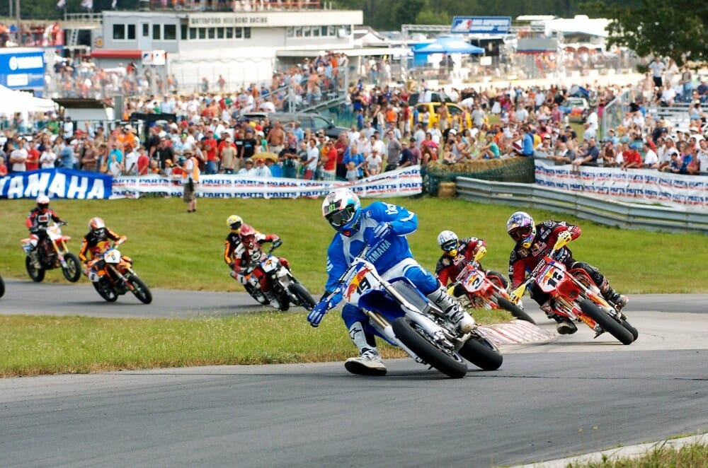 Doug Henry leads the start of the 2005 AMA Supermoto Championship race at Waterford Hills Road Racing Course in Clarkston, Michigan.